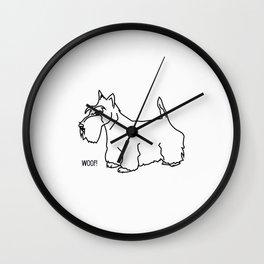 Scottish Terrier Dog woof (b/w) Wall Clock
