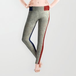 French Flag with vintage textures Leggings