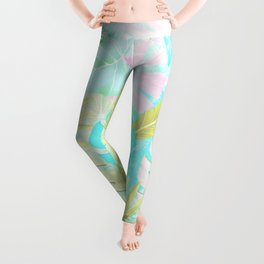 My Blue Green And Pink Summer Tropical Pastel Jungle Leggings