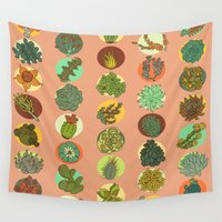 succulents Wall Tapestries featuring Succulents by SarahRobbins