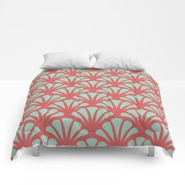 Coral and Mint Green Deco Fan Comforters