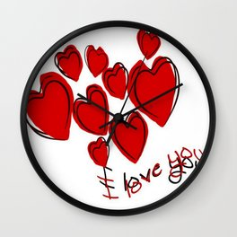 I Love You Greeting With Hearts Wall Clock