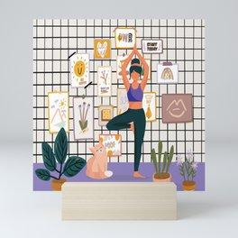 Cat yoga illustration print, Stylish scandic living room interior, plants in pot, cozy autumn season Mini Art Print