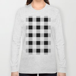 western country french farmhouse black and white plaid tartan gingham print Long Sleeve T-shirt