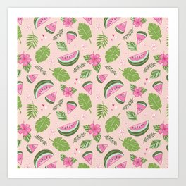 Watermelons on Pink Art Print