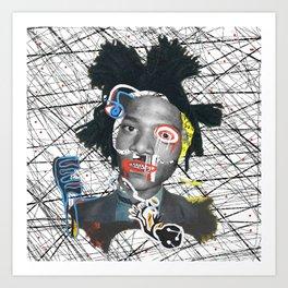 Self portrait as a pregnant dude basquiatcollage Art Print