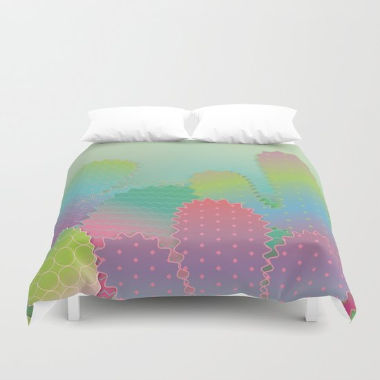 Colorful Cactus Garden Duvet Cover
