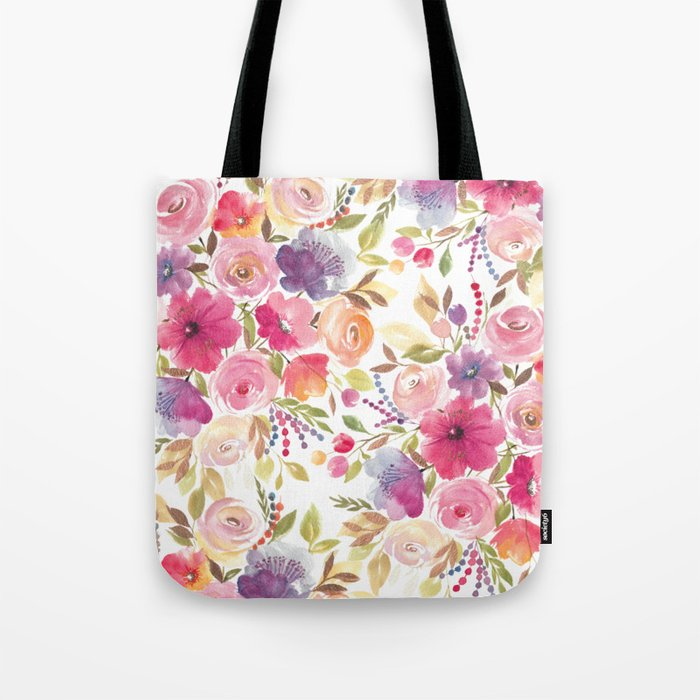 Patterened Pink Florals Tote Bag