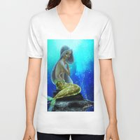 vogue V-neck T-shirts featuring Underwater Vogue by Katie Halliday
