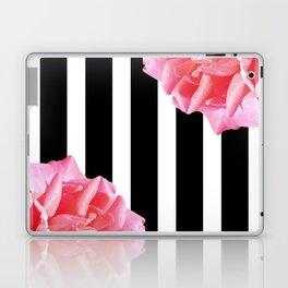 Pink roses on black and white stripes Laptop & iPad Skin