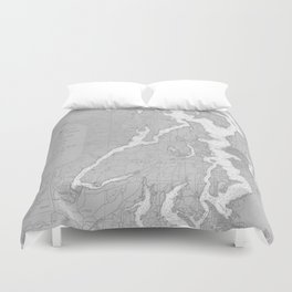 Puget Sound Washington State Nautical Chart Map Print 1956, Map Art Prints Duvet Cover