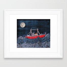 Nantucket Paper-Cut Diorama  Framed Art Print