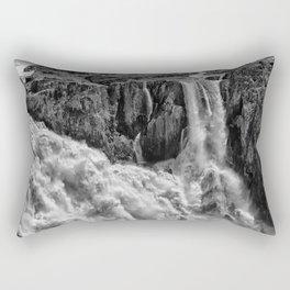 Black and White Beautiful Waterfall Rectangular Pillow
