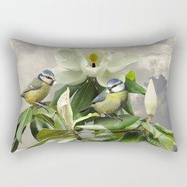 Blue Tits in Magnolia Tree Rectangular Pillow