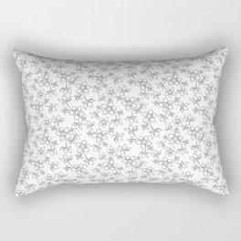 Black and white floral line art pattern Rectangular Pillow