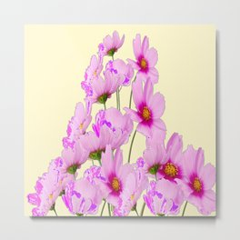 FUCHSIA PINK COSMOS FLOWERS  ON CREAM Metal Print