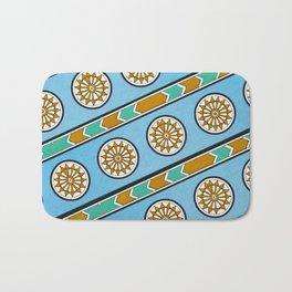 Vintage Assyrian Geometric Design Pattern in Blue, Teal and Mustard Bath Mat