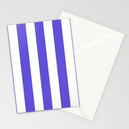 Majorelle blue - solid color - white vertical lines pattern Stationery Cards