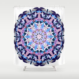 blue grey white pink purple mandala Shower Curtain