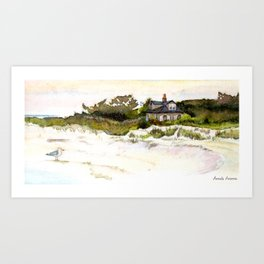 House at the End of the Island, Long Beach Island, Jersey Shore. A watercolor seashore painting Art Print