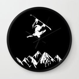 Rocky Mountain Snowboarder Catching Air Wall Clock