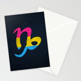 Pansexual Pride Flag Capricorn Zodiac Sign Stationery Cards