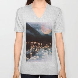 Fantasy lake with moonlight Unisex V-Neck