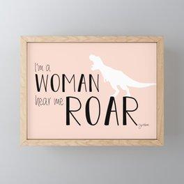 I'm a Woman Hear Me Roar - Pink Version - Dinosaur - Jess Novak Lyric Print Framed Mini Art Print