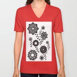 Geometric Flowers number 2 Unisex V-Neck