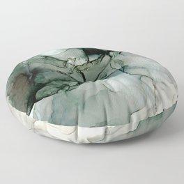 Charcoal Wisp: Original Abstract Alchol Ink Painting Floor Pillow