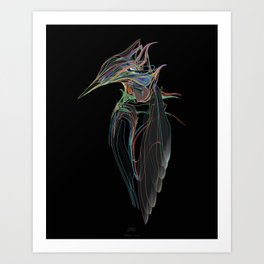 Kingfisher 1d. Color lines on black background-(Red eyes series) Art Print