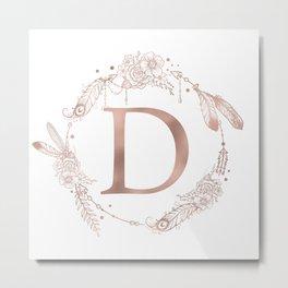 Letter D Rose Gold Pink Initial Monogram Metal Print