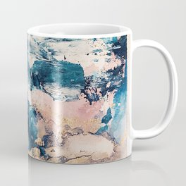 Sweetly: a bohemian, abstract work on paper in blue, pink, white, and gold Coffee Mug