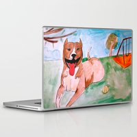 pit bull Laptop & iPad Skins featuring Pit Bull by Caballos of Colour