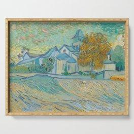Vue de l'asile et de la Chapelle de Saint-Rémy by Vincent van Gogh  Serving Tray