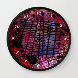 Rails on Red Wall Clock