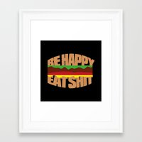 hamburger Framed Art Prints featuring Hamburger by WAMTEES