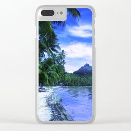 Tropical Paradise Island Beach in French Polynesia Clear iPhone Case