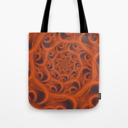 Fractal Web in Halloween Orange Tote Bag