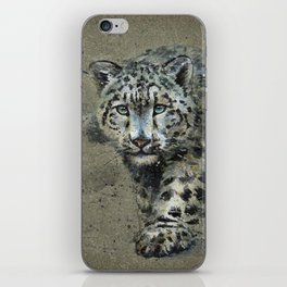 Snow leopard background iPhone Skin
