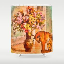Sleepy Tiger - Painting – Still – By Liane Wright Shower Curtain