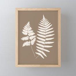 Woodland Fern Pattern, Taupe Tan and Cream Framed Mini Art Print
