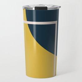 Fusion 3 Minimalist Geometric Abstract in Light Mustard Yellow, Navy Blue, and Blush Pink Travel Mug