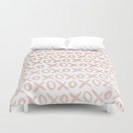Elegant faux rose gold blush pink love xoxo typography pattern Duvet Cover
