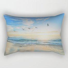 Beach - Ocean - Sundown - Sunrise - Seashore - Birds - Clouds Rectangular Pillow