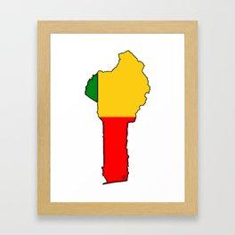 Benin Map with Flag of Benin Framed Art Print