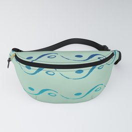 Nebula Sea Green Ocean Blue Ombre Waves and Dots Fanny Pack