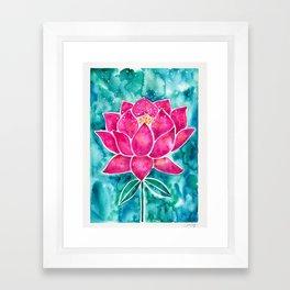 Sacred Lotus – Magenta Blossom with Turquoise Wash Framed Art Print