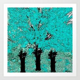 Trees Green Three Art Print