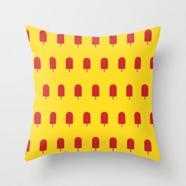 Red Popsicles - Yellow Background Throw Pillow